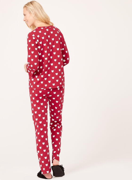 Bellina - Cat Print Pajama Set, Pink, hi-res