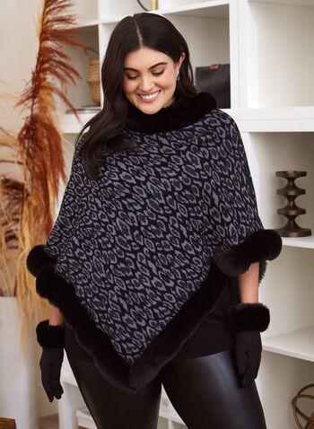 Leopard Print Poncho, Black,  poncho, leopard print, faux fur, fall 2021