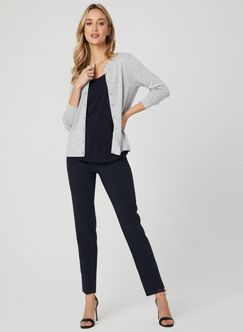 Button Front Knit Cardigan, Silver, hi-res