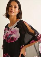 Robe fleurie à poncho asymétrique, Noir