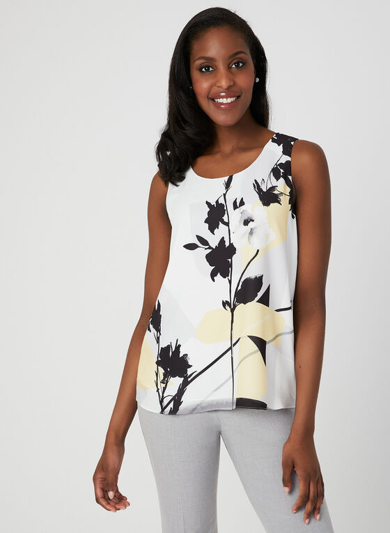 Floral Print Sleeveless Top, White, hi-res