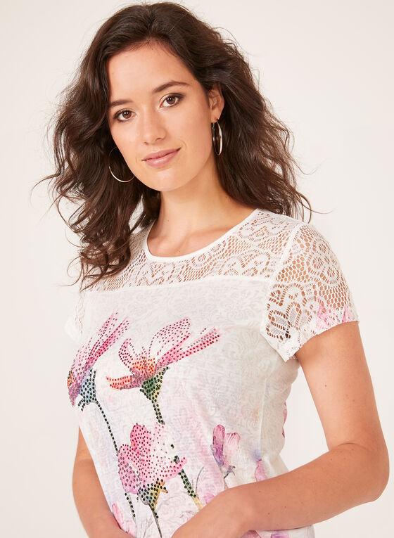 T-shirt floral et strass à détails crochet, Multi, hi-res