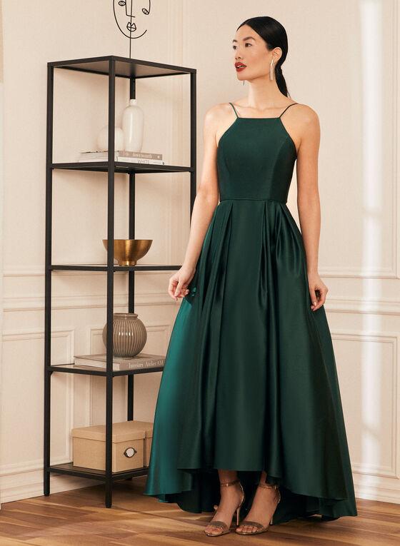 Apron Neck Satin Ball Gown, Green