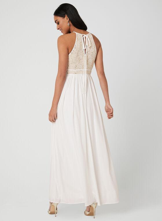 Sequin Lace Dress, Off White, hi-res