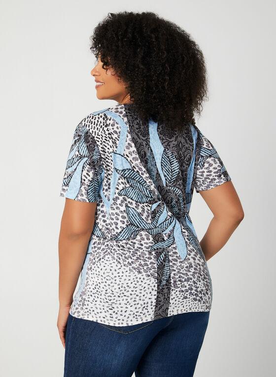 T-shirt à motif fantaisie et strass, Bleu, hi-res