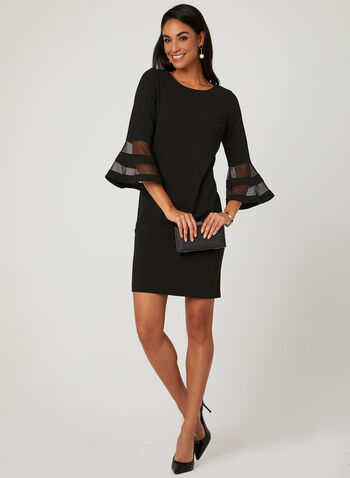 Bell Sleeve Sheath Dress, Black, hi-res