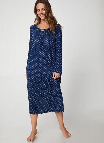 Bellina - Maxi Polka Dot Print Nightgown, Blue,  nightgown, printed nightgown, polka dots, polka dot print, print, comfortable, gift, pyjama, fall 2019, winter 2019