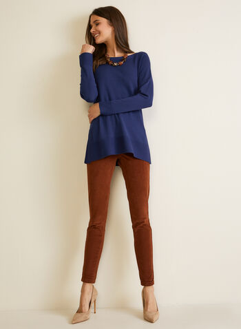 Long Fine Knit Sweater, Blue,  fall winter 2020, sweater, knitting, holiday, top, long sleeves, tunic