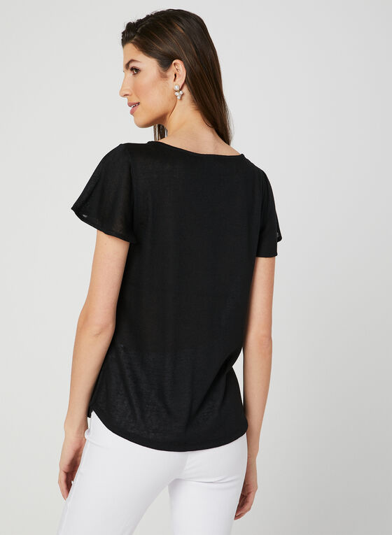 Flutter Sleeve T-Shirt, Black