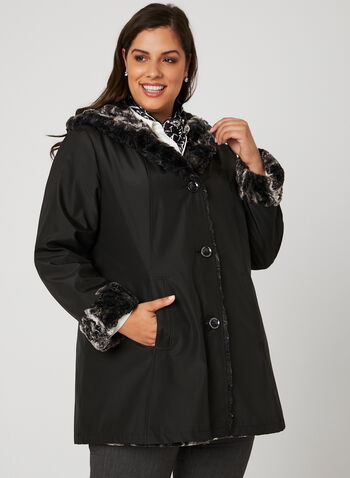 Reversible Hooded Trench Coat, Black, hi-res