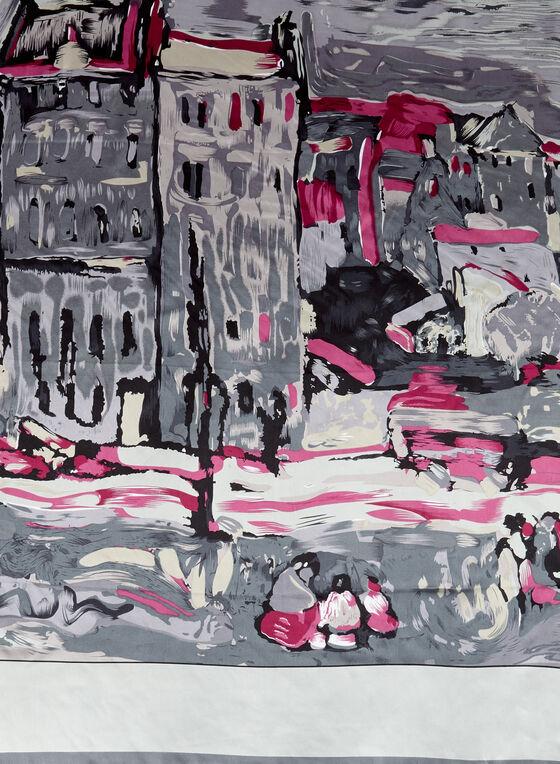 Foulard avec motif village style peinture , Gris, hi-res