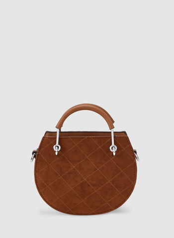 Quilted Round Handbag, Brown, hi-res,  fall winter 2019, quilted, round, top handle