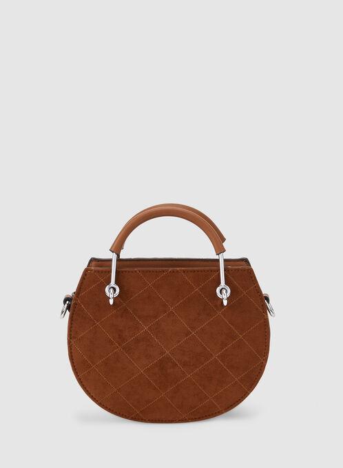 Quilted Round Handbag, Brown, hi-res