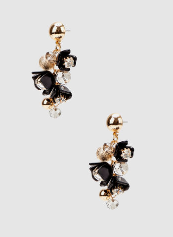 Cluster Dangle Earrings, Black, hi-res