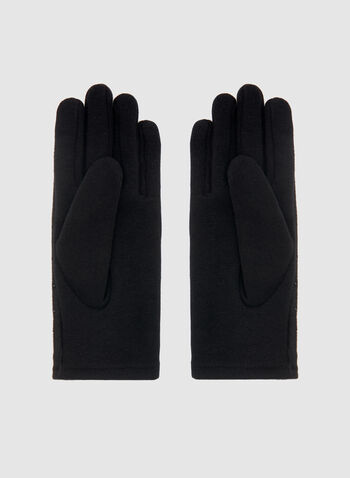 Crystal Detail Faux Suede Gloves, Black, hi-res