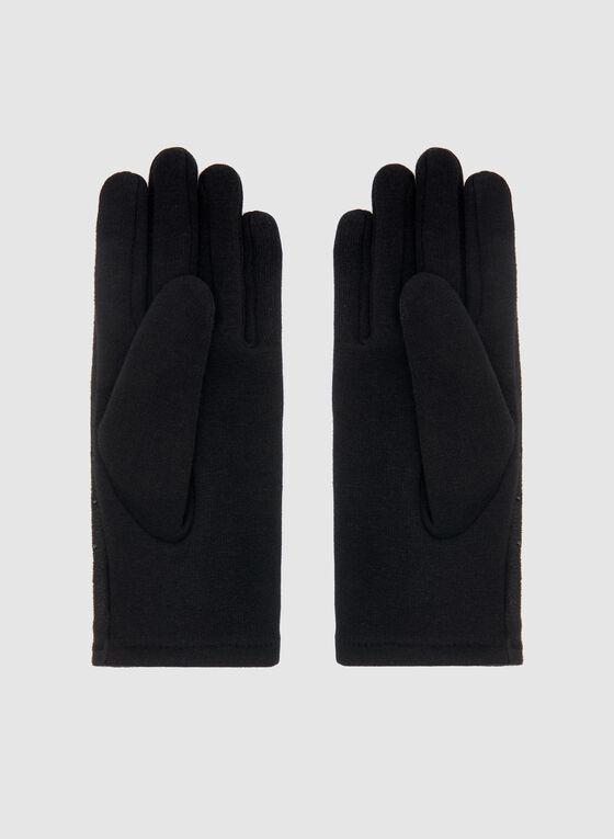 Gants en faux daim et détails strass, Noir, hi-res