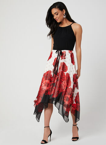 Floral Print Dress, Black, hi-res