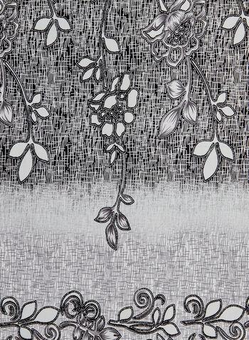 Floral Print Scarf, Silver, hi-res