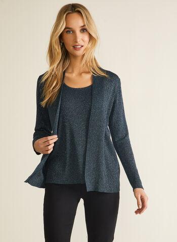 Pull illusion en tricot métallisé, Multi,  automne hiver 2020, pull, illusion, trompe-l'oeil, effet deux pièces, manches longues, tricot, chandail, métallique, métallisé
