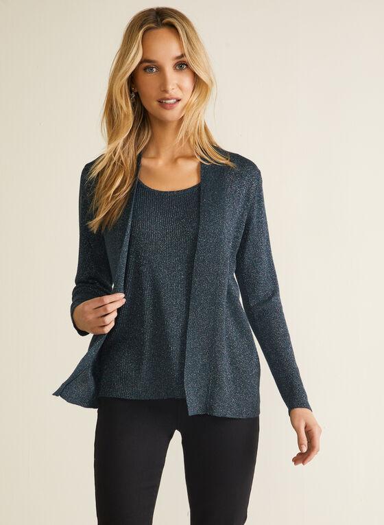 Pull illusion en tricot métallisé, Multi