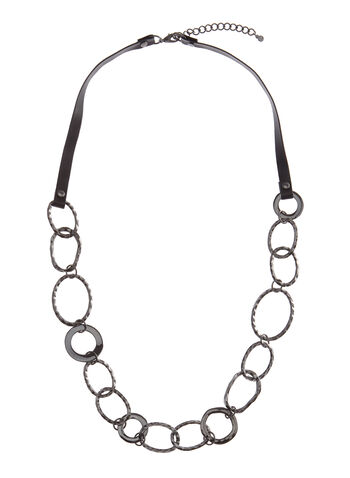 Hammered Chain Link Necklace, Grey, hi-res