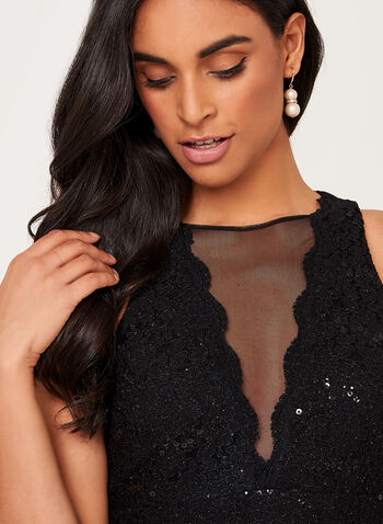 Sequin Lace Mesh Detail Dress, , hi-res