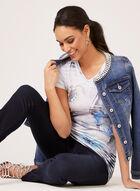 Vex - T-shirt à rayures et imprimé floral , Bleu, hi-res