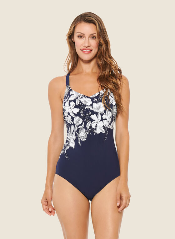 Christina - Floral Print One-Piece Swimsuit, Blue