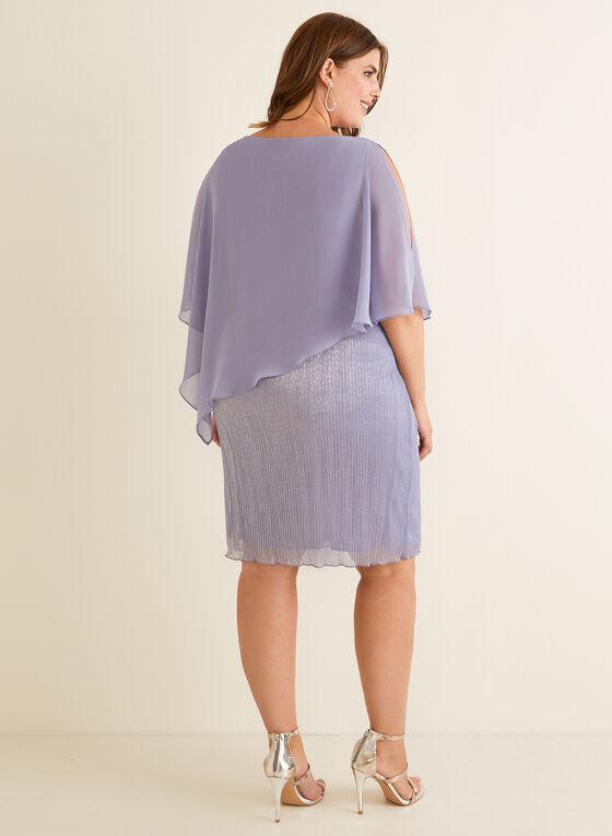 Robe poncho en fibres métallisées, Violet