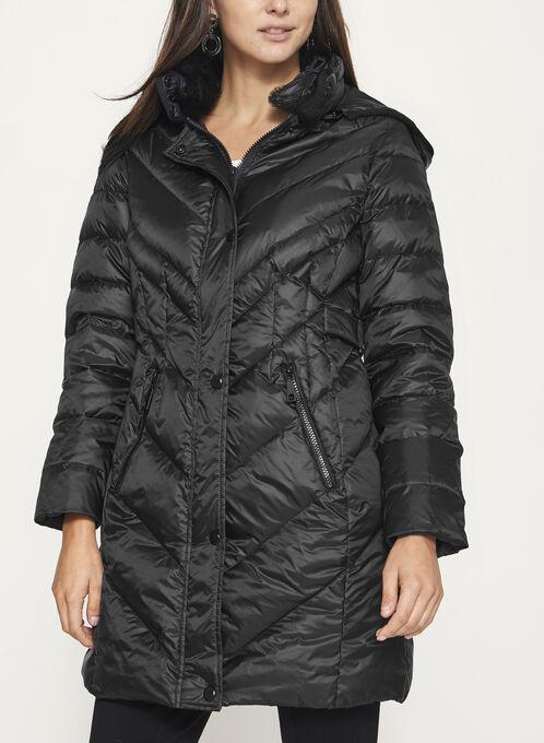 Quilted Down Filled Coat, Black, hi-res