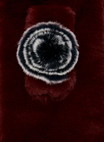 Fur Pull Through Scarf, Red, hi-res