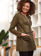 Faux Suede Convertible Jacket, Green
