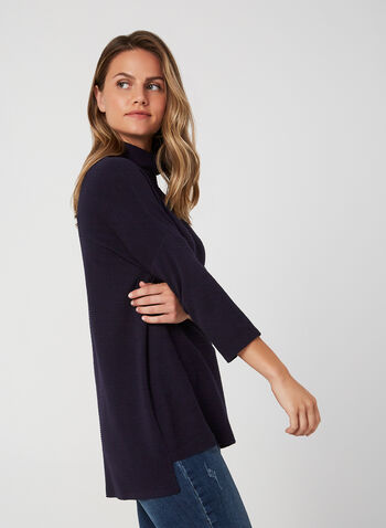 Mock Neck Hi-Low Top, Blue, hi-res,  Canada, top, ottoman knit, 3/4 sleeves, mock neck, high-low hem, fall 2019, winter 2019