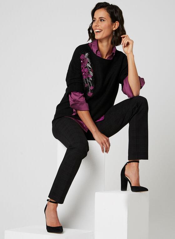 Alison Sheri - Pull à broderies florales et pierres, Noir, hi-res