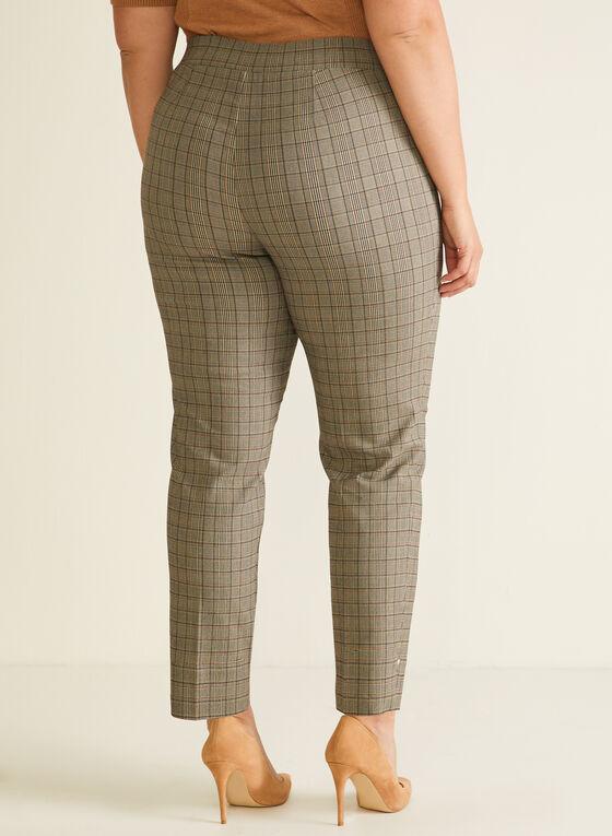 Pantalon droit pull-on à motif tartan, Brun