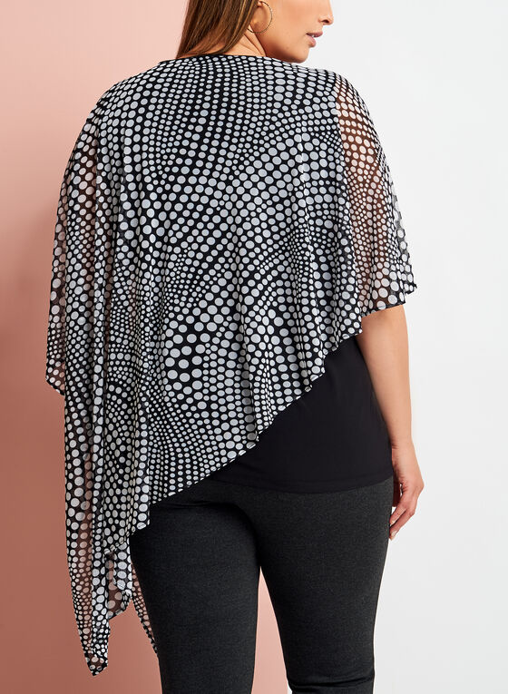 Dot Print Asymmetric Poncho Top, Black, hi-res
