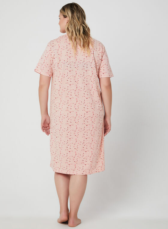 Bellina - Floral Print Nightgown, Pink, hi-res