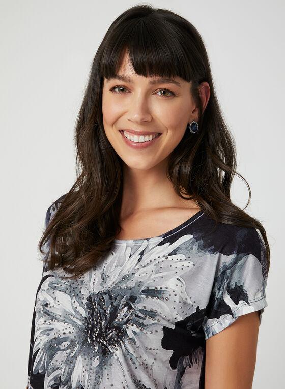 T-shirt à imprimé floral et détail crochet, Noir, hi-res