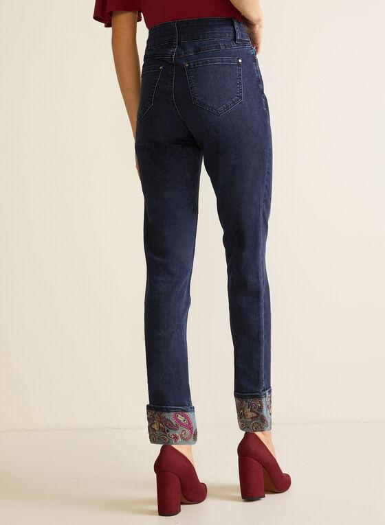 Jeans avec ourlet à motif cachemire, Bleu