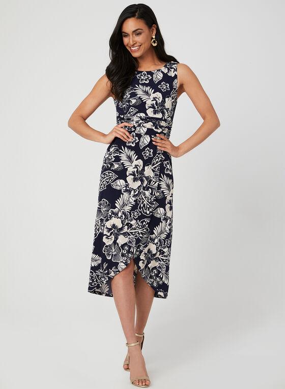 Robe fleurie texturée sans manches, Bleu
