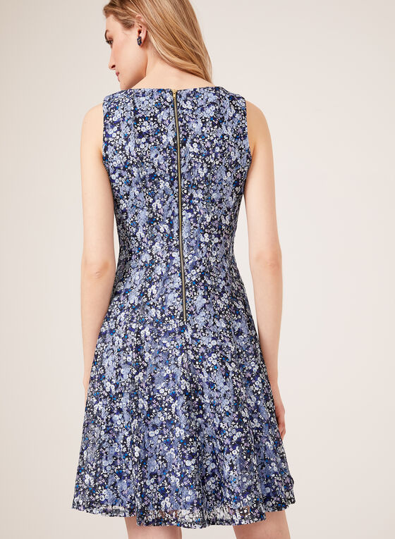 Floral Print Fit & Flare Dress, Blue, hi-res