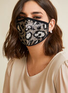 Sequin Leopard Print Mask With Filters, Black