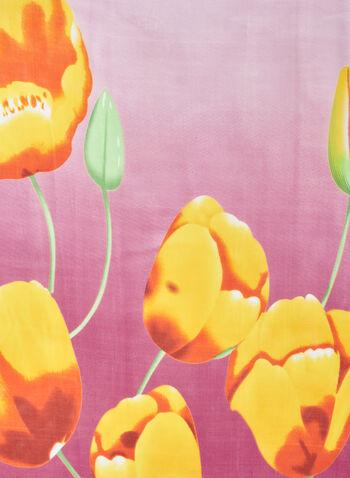 Foulard oblong léger à fleurs, Rose,  foulard léger, fleuri, mousseline, printemps été 2020
