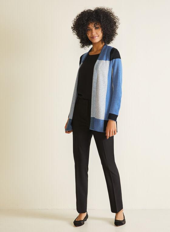 Open Front Colour Block Cardigan, Blue