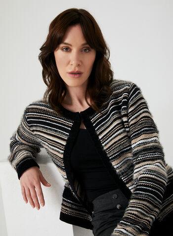 Cardigan rayé en tricot poilu, Noir, hi-res,  cardigan, manches longues, rayures, tricot, poilu, automne hiver 2019