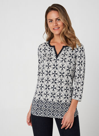 ¾ Sleeve Print Top, Blue, hi-res,  top, 3/4 sleeves, Aztec, split neck, fall 2019, winter 2019