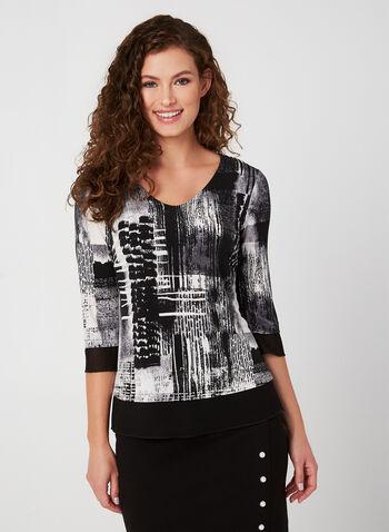 Haut bi-matière à motif abstrait, Noir, hi-res,  automne hiver 2019, haut, bi-matière, jersey, mousseline, imprimé, motif, abstrait, encolure en V, Canada