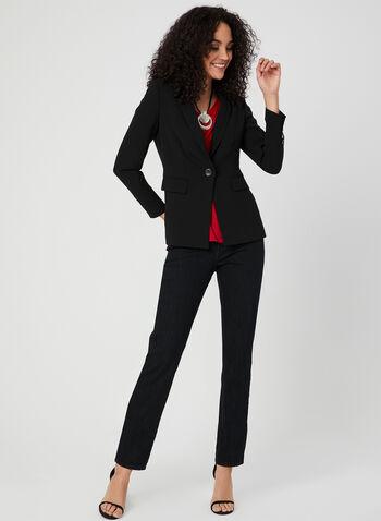 Simon Chang - Jean coupe signature à jambe droite, Noir,  jean, jambe droite, signature, broderies, poches, printemps 2019