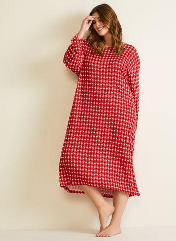 Robe de nuit à motif cœurs, Rouge,  automne hiver 2020, pyjama, robe de nuit