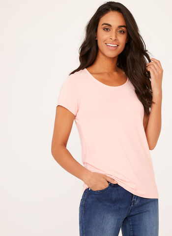 Short Sleeve Scoop Neck T-Shirt, Pink, hi-res